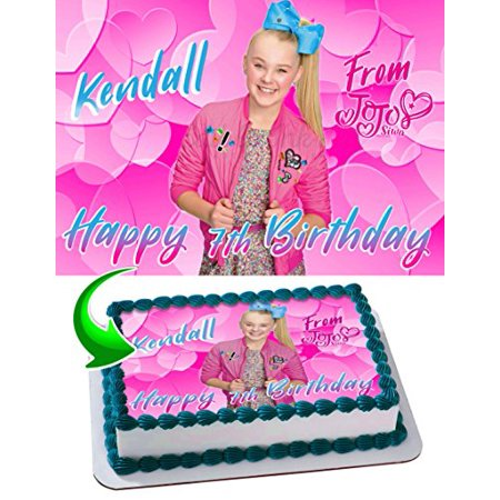 JoJo Siwa Joelle Joanie Edible Cake Topper Personalized Birthday 1 4 Sheet Decoration Custom