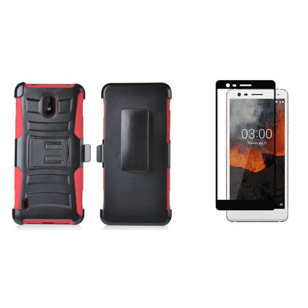 Double Layer Glass (Bemz Rugged Series Bundle Compatible with Nokia 3.1 A, Nokia 3.1 C with Full Body Coverage Double Layer Armor Case (Red/Black), Tempered Glass Screen Protector and Atom Cloth)