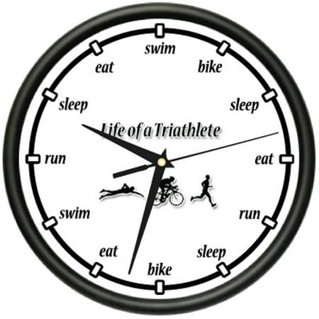 TRIATHLON Wall Clock runner swimmer biker run swim bike marathon gift