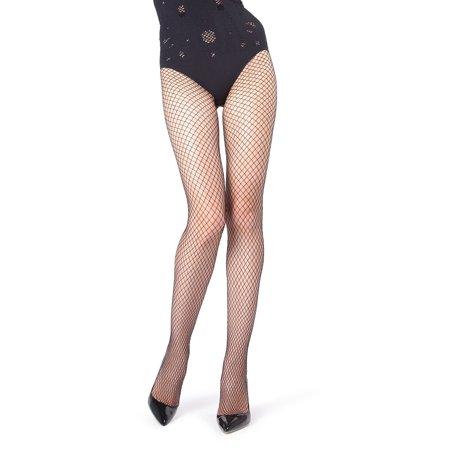 MeMoi Oil Slick Fishnet Tights   Women's Premium Pantyhose - Hosiery Medium/Large / Black MWF 000056