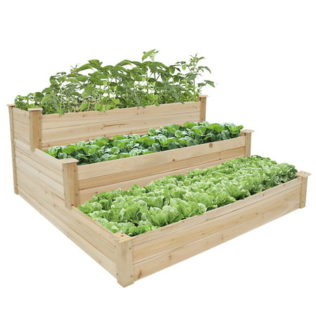 Kinbor 3-Tier Wooden Raised Garden Bed Elevated Planter Kit Grow Flower Vegetables (Grow Gorgeous Container Gardens)