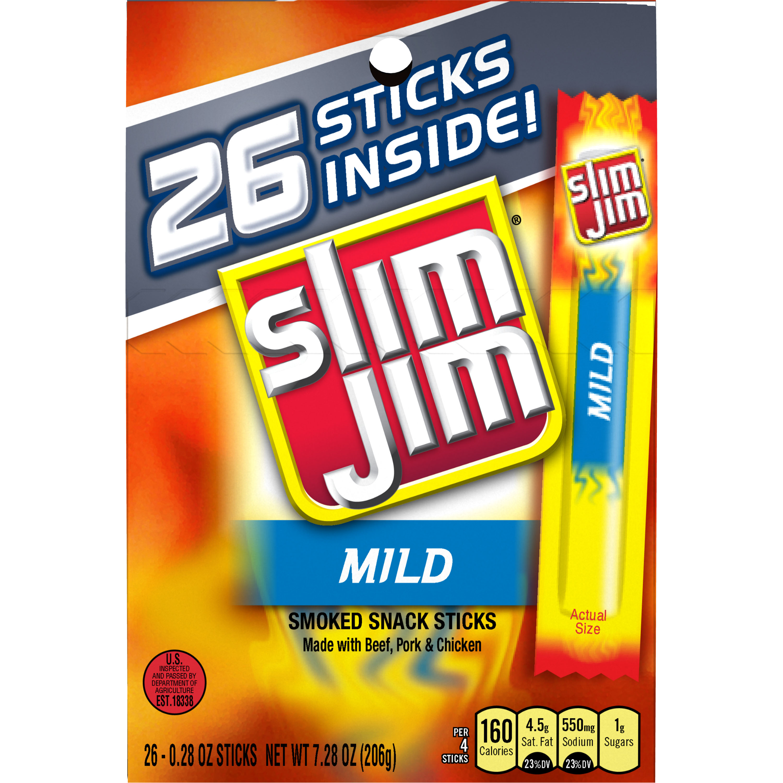 Slim Jim Mild Smoked Snack Sticks, 0.28 oz, 26 ct