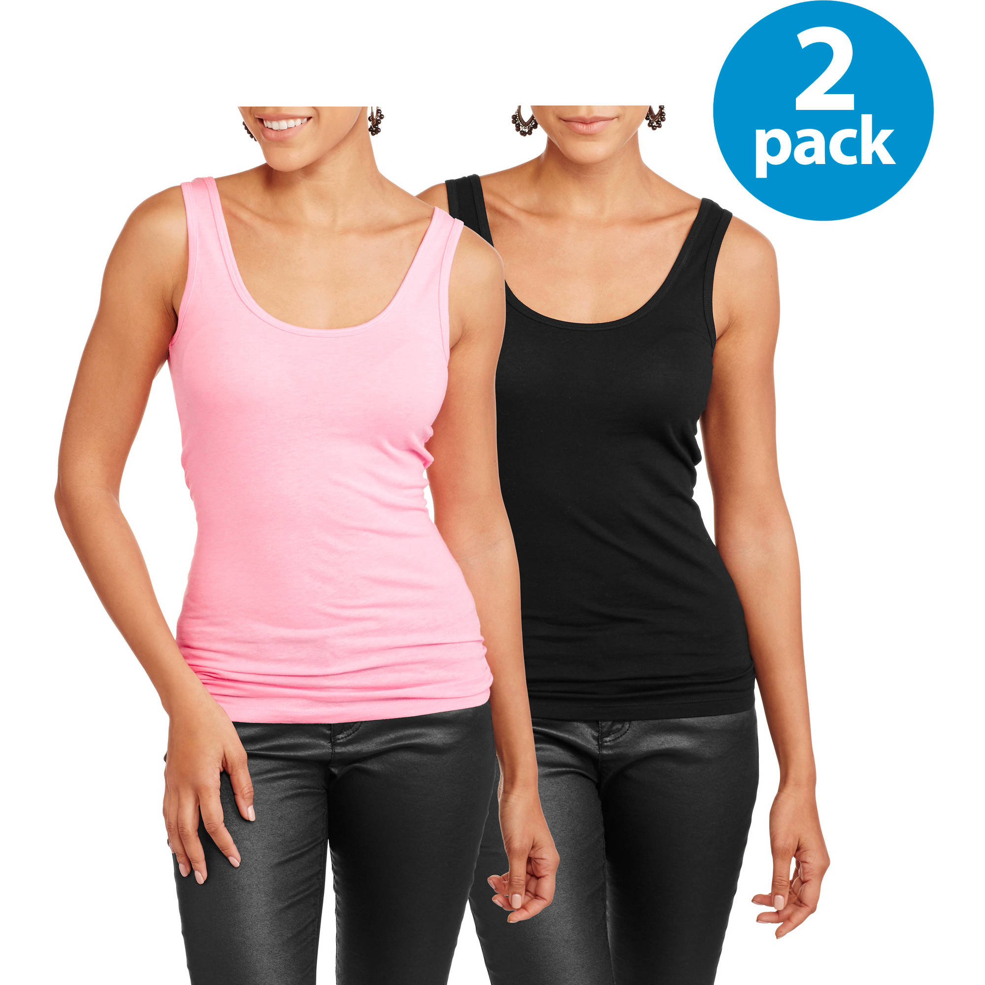 No Boundaries Juniors' Scoop Neck Tank 2 Pack