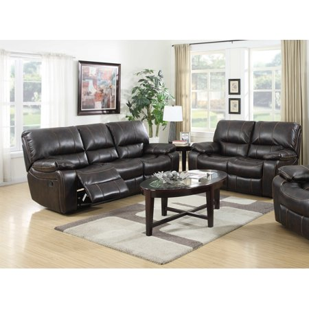 Lillian 2 pc dark brown printed leather fabric living room - Fabric reclining living room sets ...