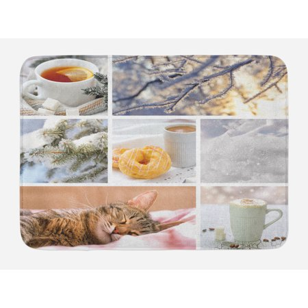 Winter Bath Mat, Snowy Morning with Sleeping Cat Coffee Donuts Icy Tree Branch Comfort Collage Art, Non-Slip Plush Mat Bathroom Kitchen Laundry Room Decor, 29.5 X 17.5 Inches, Multicolor, Ambesonne