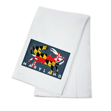 Maryland - Crab Flag - Lantern Press Artwork (100% Cotton Kitchen Towel) (Crab Dish)