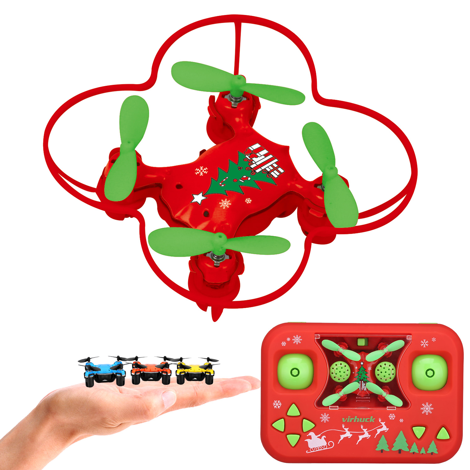 Virhuck Mini Volar-360 RC Nano Drone 2.4 GHz 4.5 CH 6 AXIS GYRO System Multicolor LED Lights Headless/One Key Return Mode Quadcopter,Remote Control,Pocket Size,Red