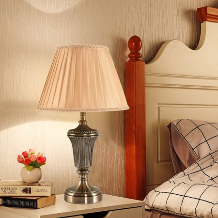 13'' Antique Brass Bedside Table Lamp w/ LED Bulb Champagne Night Light - image 8 of 10