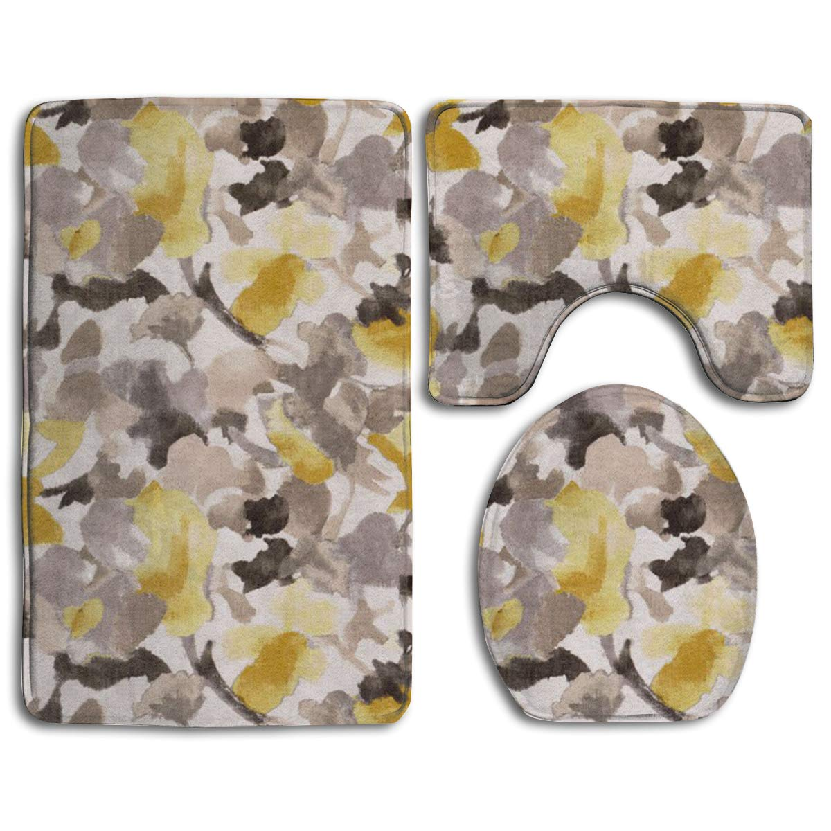 EREHome Yellow Gray Flower 9 Piece Bathroom Rugs Set Bath Rug Contour Mat  and Toilet Lid Cover