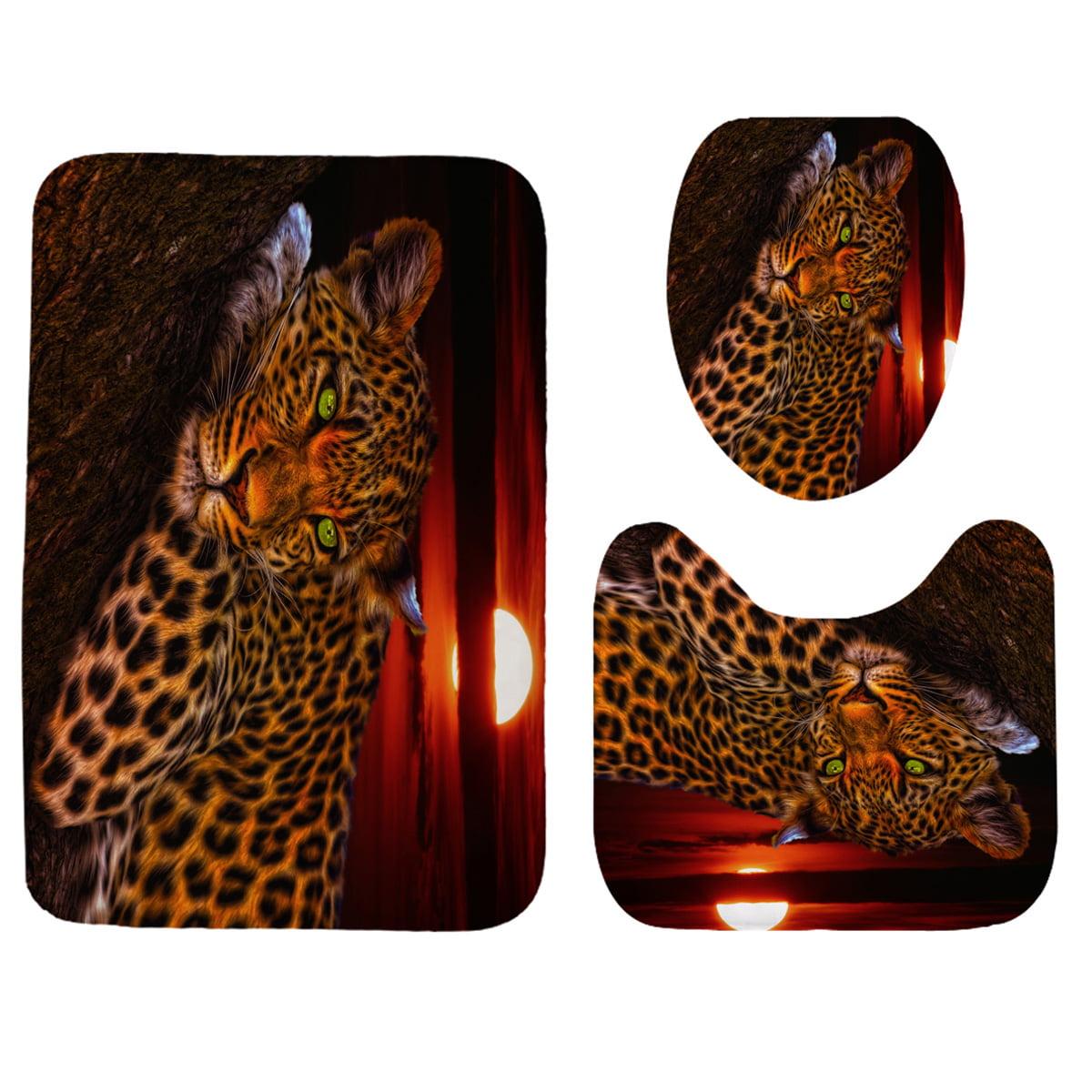 Moon Leopard Print Waterproof Shower Curtain OR 3Pcs Bath ...