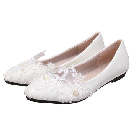 Womens Heel White Flower Lace Crystal Wedding Shoes Prom Bridal Bridesmaid Flat High Low Heels shoes