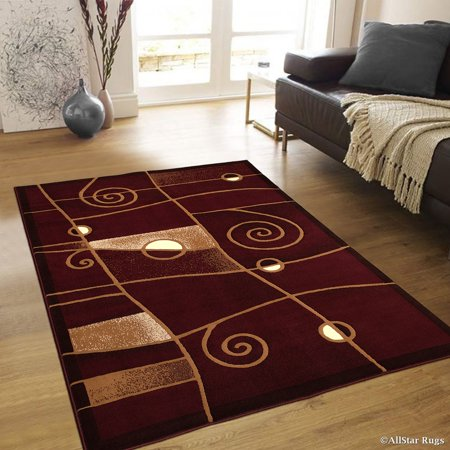 Hollywood Stars On Red Carpet (Allstar Burgundy Abstract Modern Area Carpet Rug (7' 10