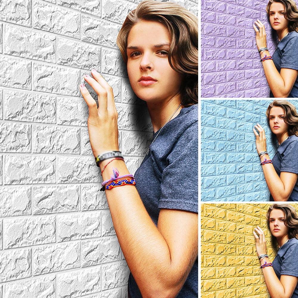 Girl12Queen 60cm x 30cm PE Foam 3D Embossed Brick DIY Wall Sticker Modern Wall Home Decor