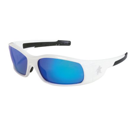 Crews SR128B Swagger Brash Look Polycarbonate Dual Lens Glasses with Polished White Frame and Blue Diamond Mirror