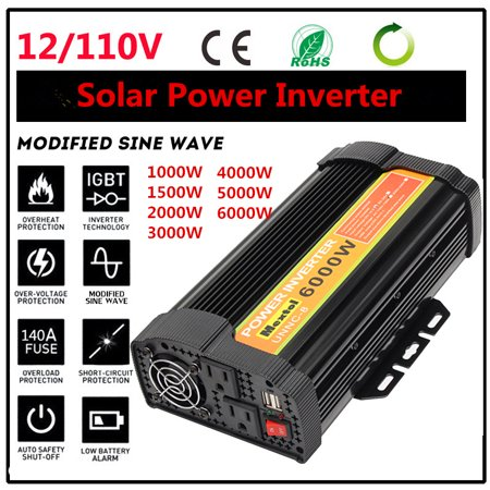 Pure/Modified Sine Wave Converters Solar Power Inverter 1000W/1500W/3000W/5000W/6000W DC 12V To AC 110V LED 2-USB Adapter Temperature Protection For TV DVD Player Home Car