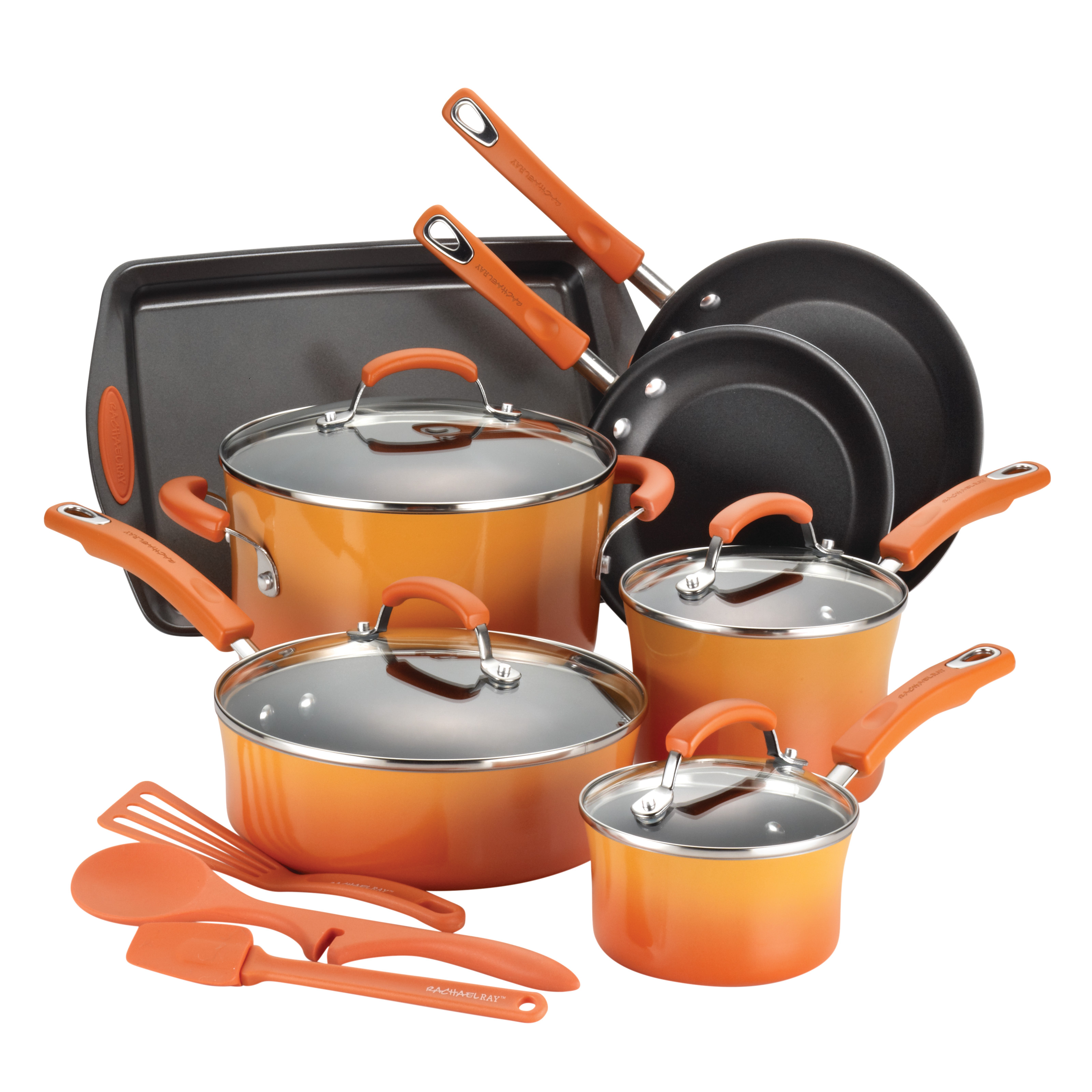 Rachael Ray Hard Enamel Nonstick 14-Piece Cookware Set, Orange Gradient
