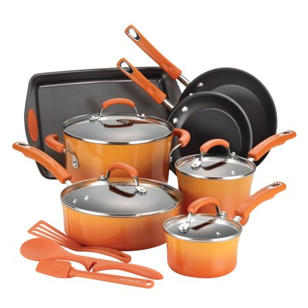 Rachael Ray Classic Brights Hard Enamel Non-Stick Orange Gradient Cookware Set, 14 Piece