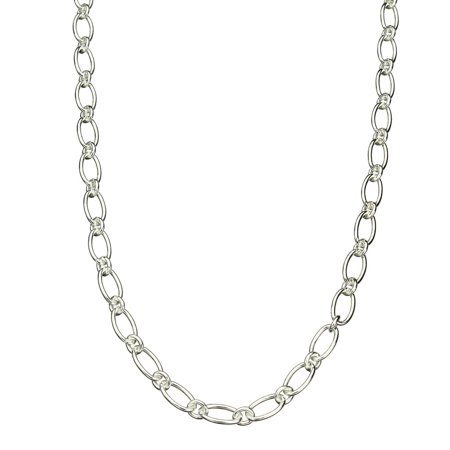 """Oval 1+1 Sterling Silver Chain Necklace Toggle Clasp Nickel Free 24"""""""