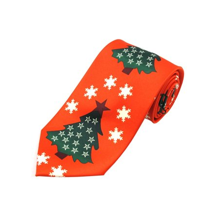 Jacob Alexander Men's Red Orange Christmas Tree Stars and Snowflakes Extra Long Neck Tie Christmas Snowflake Tie