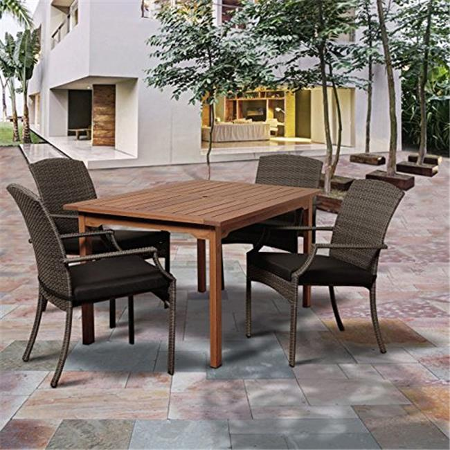 BT361-4SANI GR-GR Warner 5 Piece Eucalyptus & Wicker Rectangular Dining Set with Grey Cushions