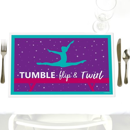 Tumble, Flip & Twirl - Gymnastics - Party Table Decorations - Birthday Party or Gymnast Party Placemats - Set of - Birthday Party Table Decorations