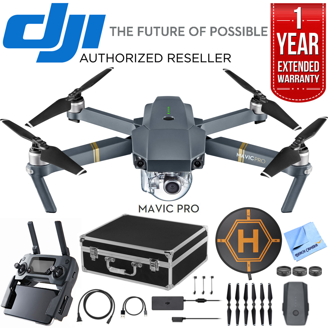 DJI Mavic Pro Quadcopter Drone with 4K Camera and Wi-Fi Premium Package With Spare Battery... by DJI