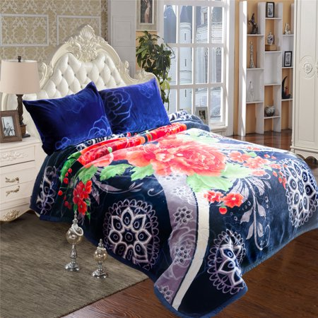 (Ultra Warm Soft Crystal Velvet Plush Fleece Mink Blanket Heavy Thick 2 Ply Printed Embossed Pretty Bed Blanket For Autumn Winter 85