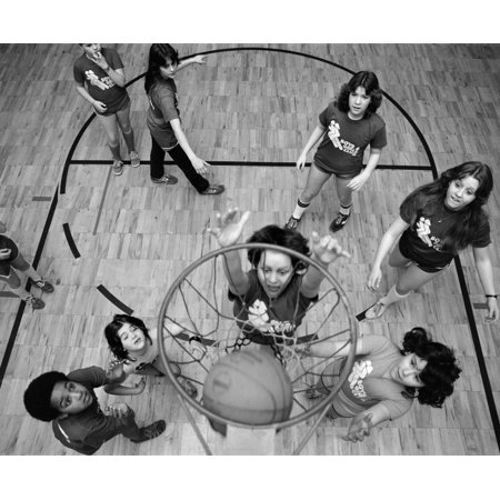 1980S Birds Eye View Of Group Of Kids Playing Basketball One Jumping Up To Shoot A Basket Ball Going Into Net Print By