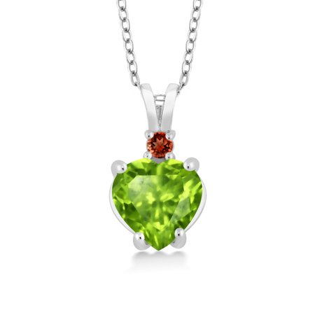 Genuine Peridot Heart Pendant - 1.59 Ct Heart Shape Green Peridot Red Garnet 925 Sterling Silver Pendant