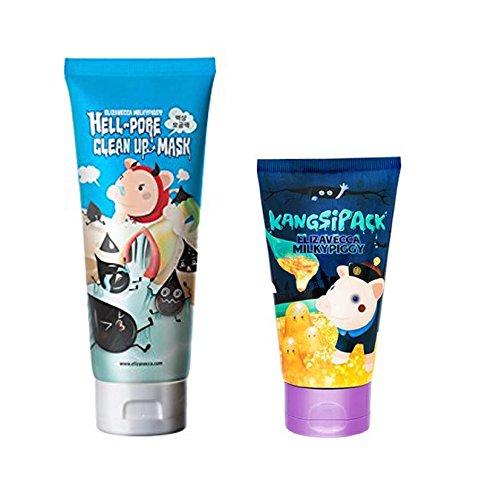 [Elizavecca] milky piggy Hell-Pore Clean Up nose Mask + KANGSI Pack (24k Gold Pack) 2pcs SET Tena Skin Caring Wash Cream, No-Rinse, pH-Balanced  16-8/9 oz 4 Pack