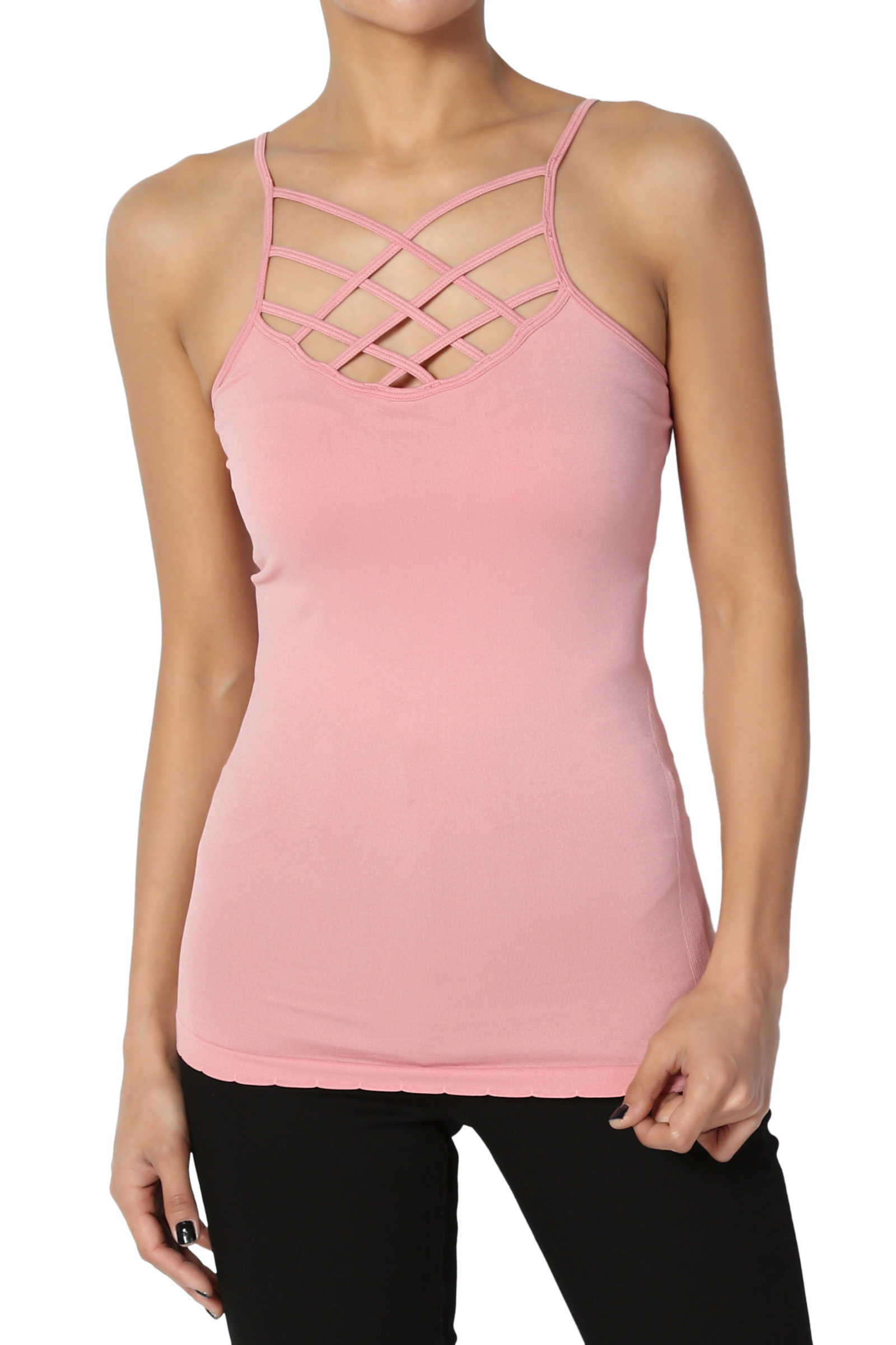 TheMogan Junior's Crisscross Strappy Tank Top Sexy Stretch Layering Camisole Cami