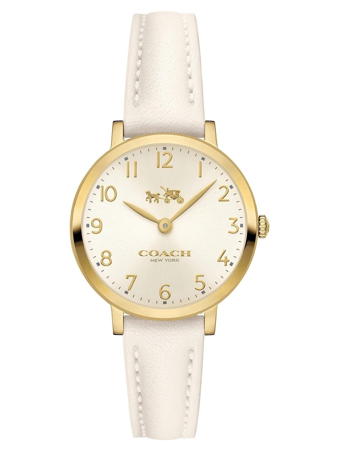 Women's Ultra Slim White Leather Strap Watch 14502564