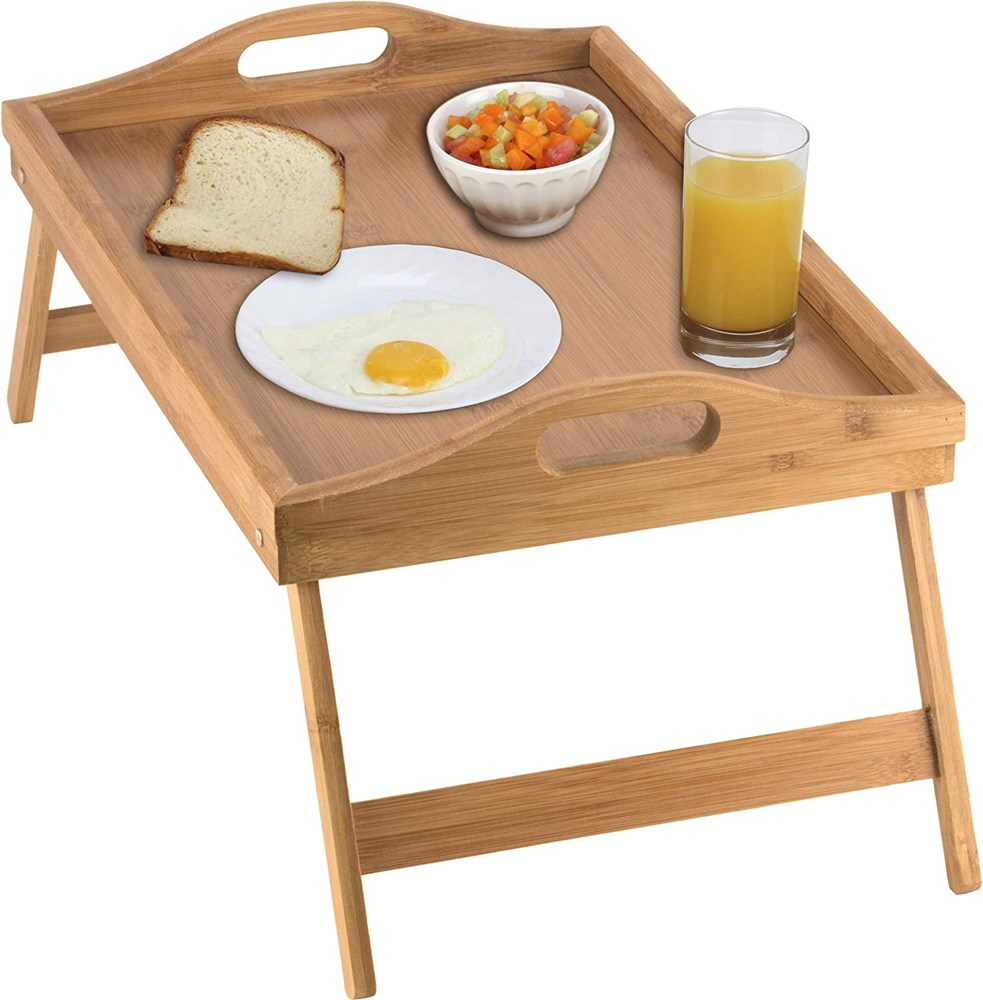 Homritus Bed Tray table with folding legs, and breakfast tray Bamboo bed table and bed tray with legs