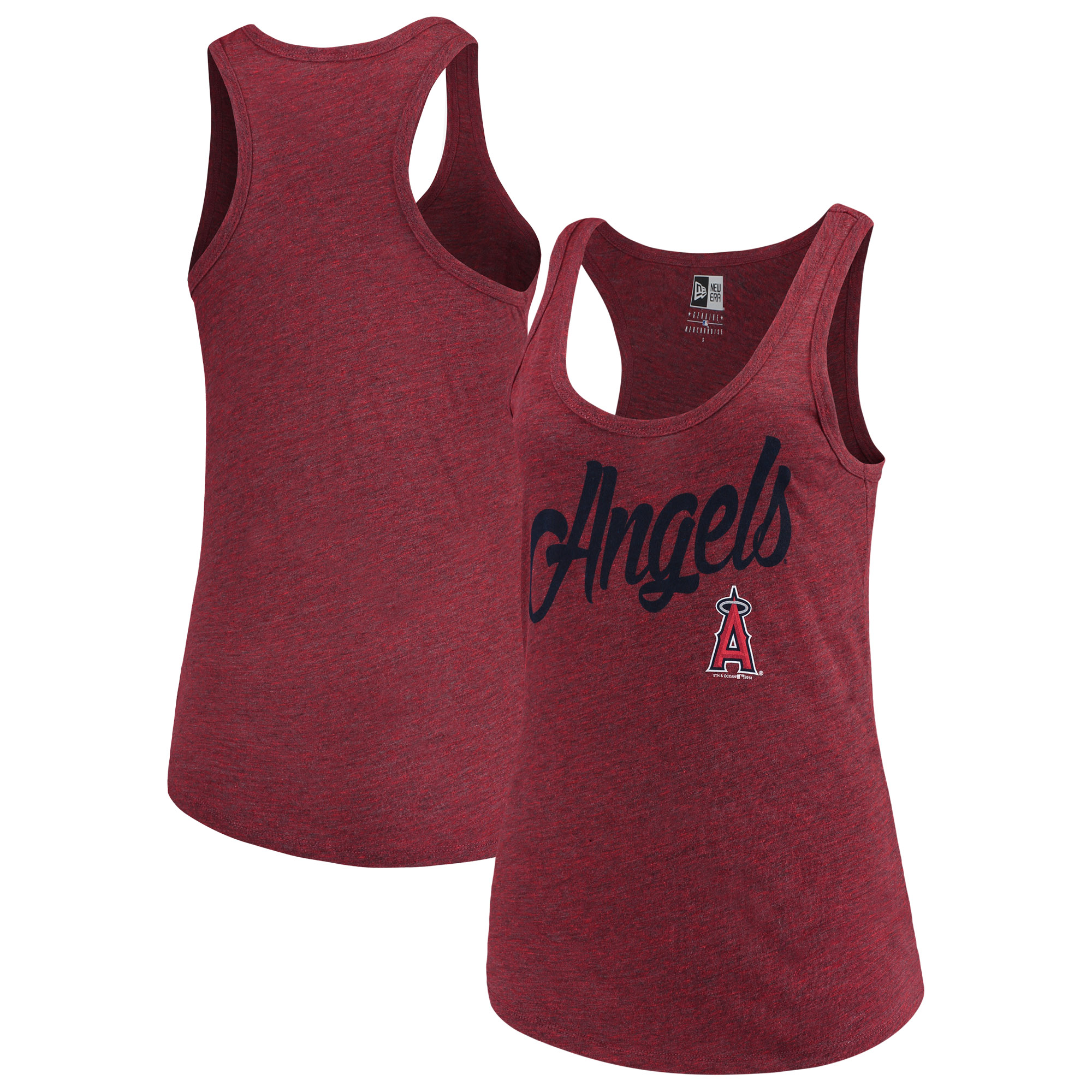 Los Angeles Angels 5th & Ocean by New Era Women's Tri-Blend Racerback Tank Top - Red