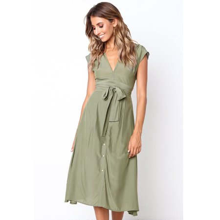Summer Women's V Neck Striped Bow Tie Waist Sleeveless Single-Breasted Button Down Swing A Line Midi Dress