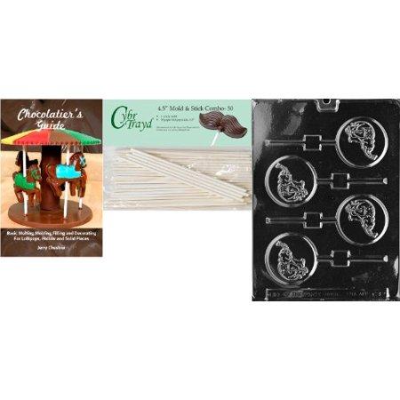 Cybrtrayd 'GOP Elephant Lolly' Animal Chocolate Candy Mold with 50 4.5-Inch Lollipop Sticks and Chocolatier's - Gop Elephant