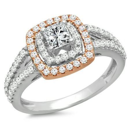 Dazzlingrock Collection 0.95 Carat (Ctw) Two Tone Rose Gold Plated 14K Diamond Bridal Halo Engagement Ring, White Gold, Size 4.5