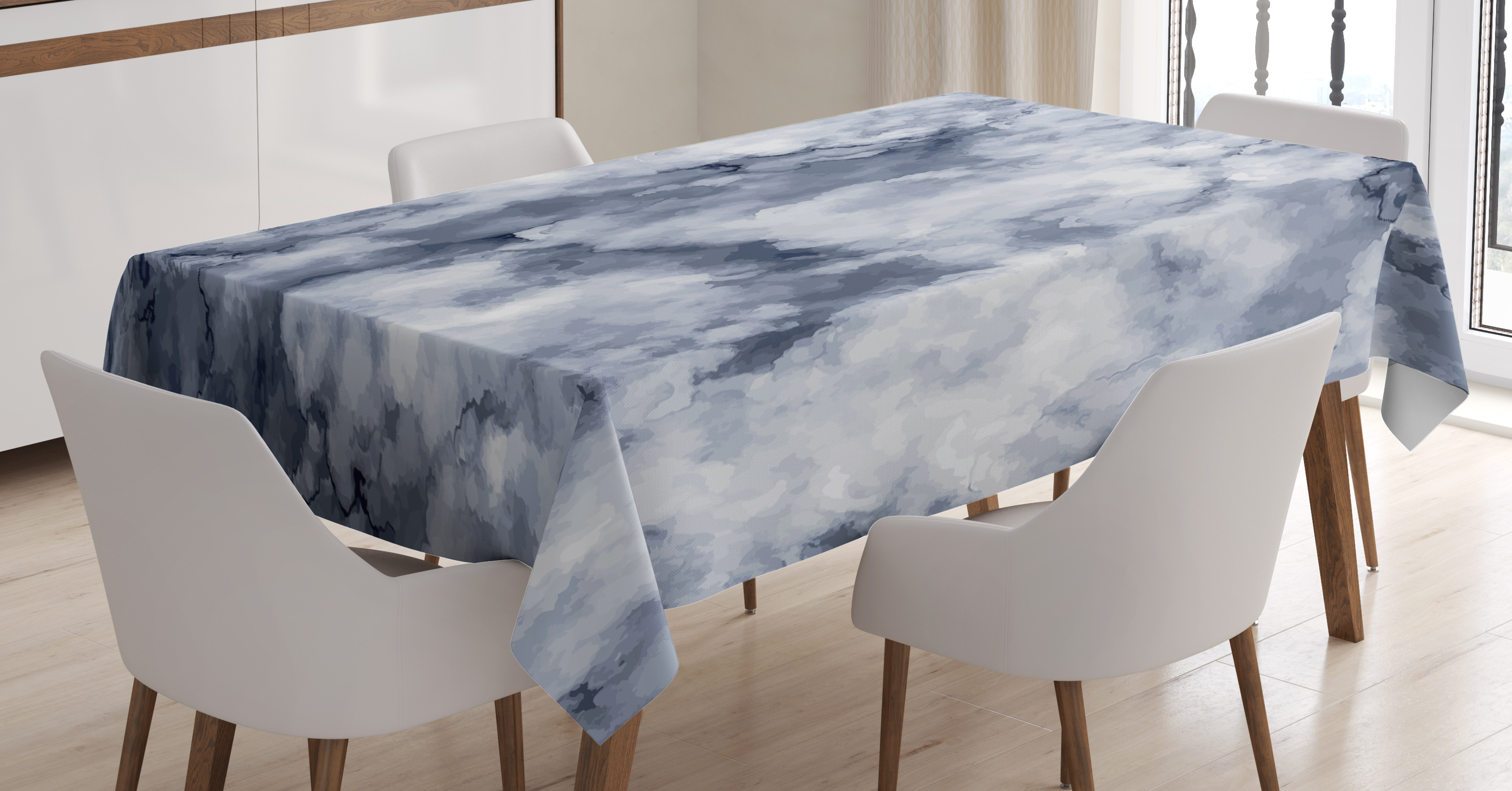 Marble Tablecloth, Cloudy Stylized Artistic Marble Pattern with Foggy  Effects Abstract Display, Rectangular Table Cover for Dining Room Kitchen,  60 X