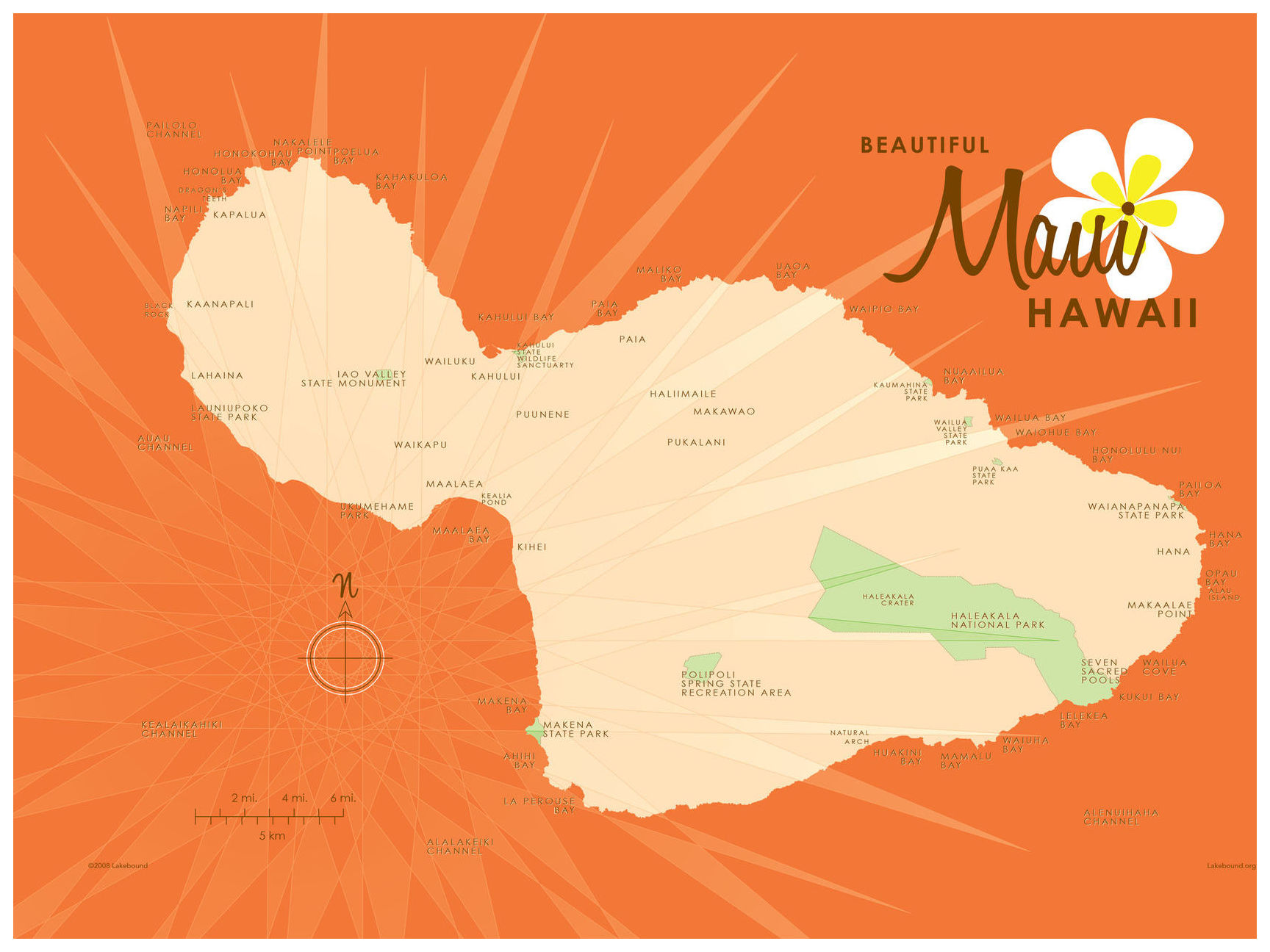 graphic relating to Maui Map Printable identify Maui Orange Map Typical-Design Artwork Print by means of Lakebound (18\