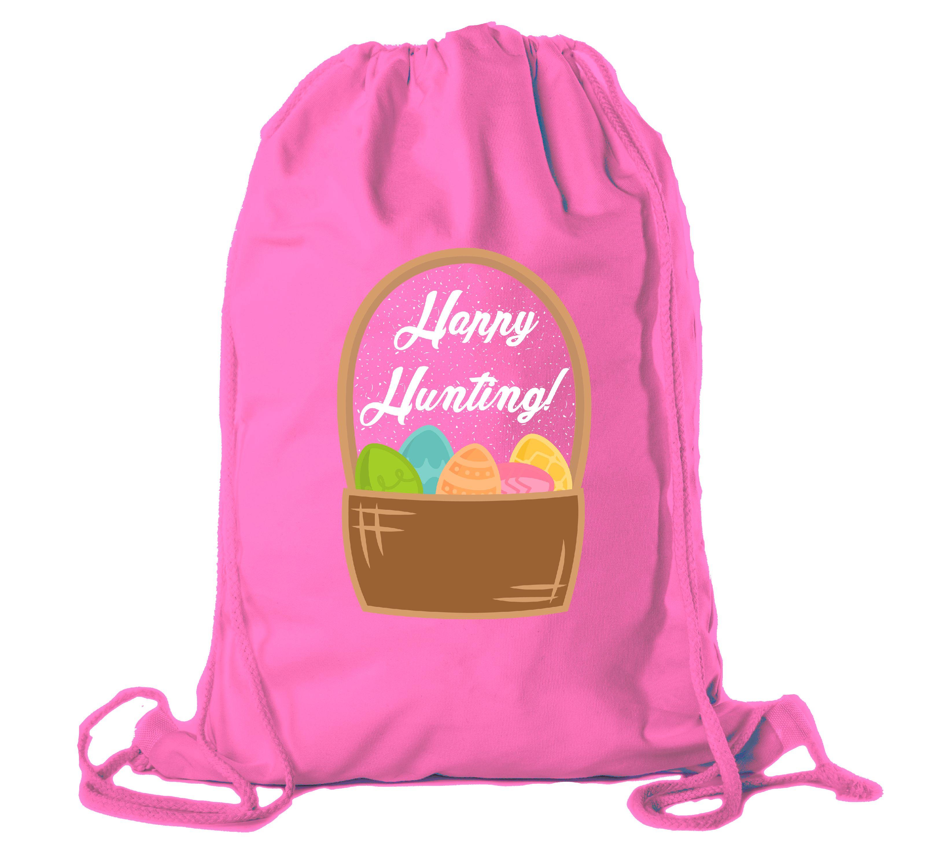Easter Basket Backpack Bulk Cotton Drawstring Cinch Bags Easter Bunny Gift Bags - Basket