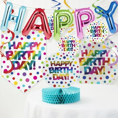 Rainbow Foil Birthday Decorations Kit