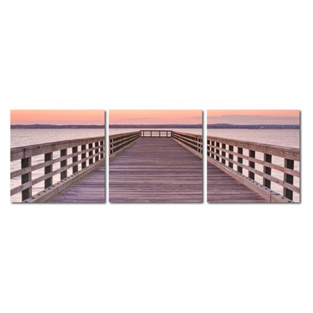 Wholesale Interiors Baxton Studio Pier Sunset Mounted 3 Piece Framed Photographic Print on Wrapped Canvas Set