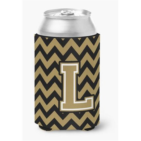 Letter L Chevron Black & Gold Can or Bottle Hugger, 0.25 x 4 x 5.5 in. - image 1 de 1