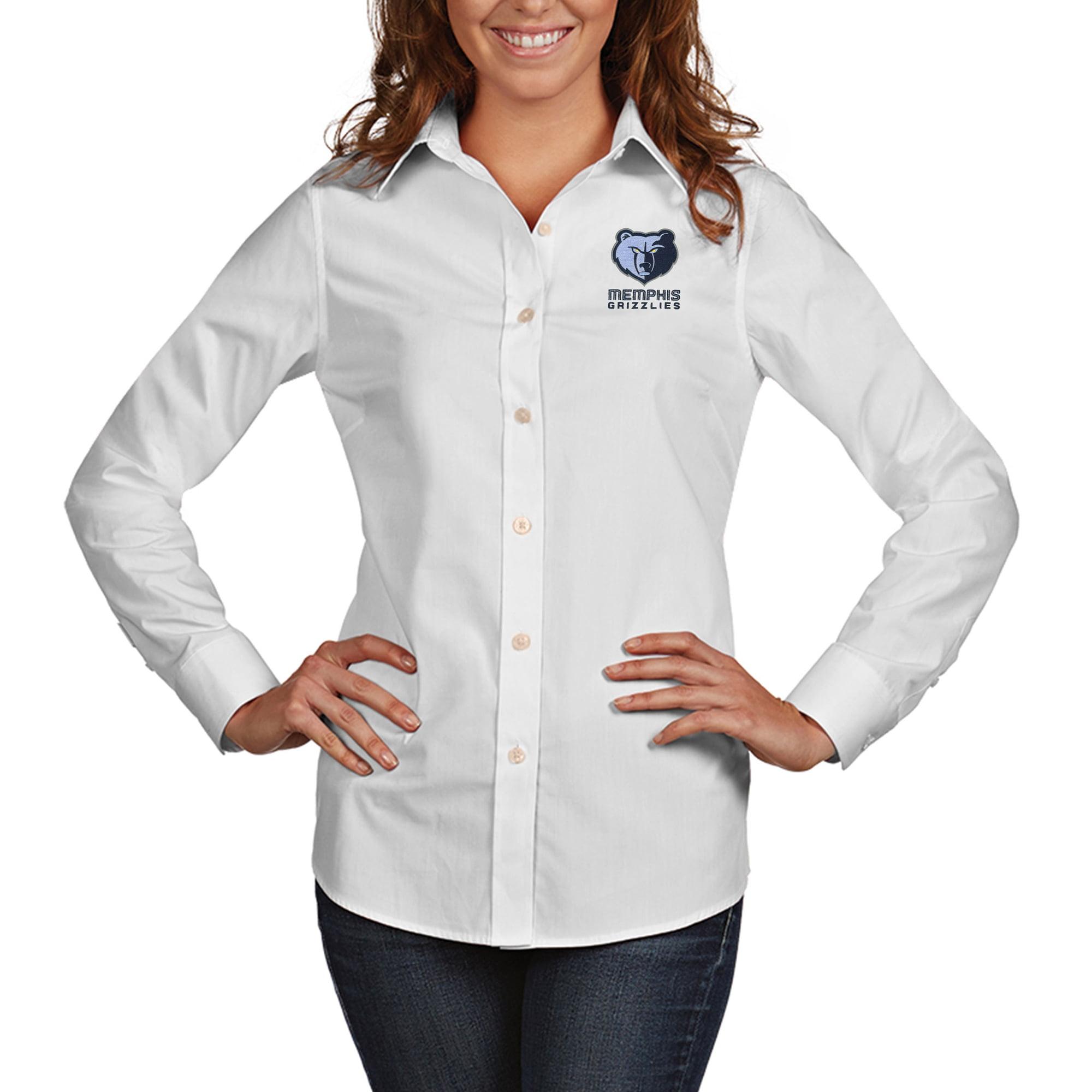Memphis Grizzlies Antigua Women's Dynasty Woven Button-Up Long Sleeve Shirt - White