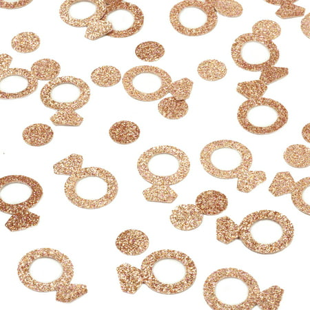 Andaz Press Real Glitter Confetti Rose Gold Glitter Diamond Ring, Paper Party Confetti 100-Pack - Diamond Party Confetti