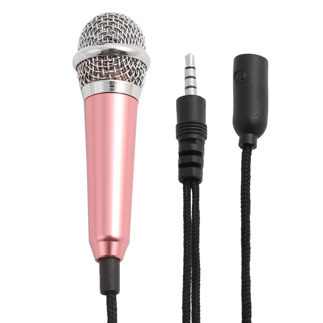 Portable 3.5mm Mini Smart Microphone Stereo Condenser Mic Pink for Phone w Base