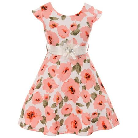 Little Girl Girls Dress Floral Graduation Summer Birthday Flower Girl Dress USA Peach 4 JKS 2126 BNY Corner](Princess Peach Dress)