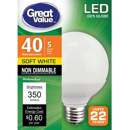 Great Value Led Light Bulb  5W  40W Equivalent   Soft White  Globe