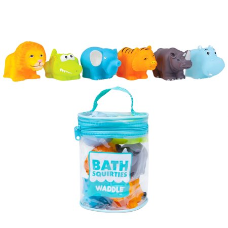 Waddle Baby Bath Toys Safari Jungle Animals 6 Pack Lion Elephant Tiger and - Baby Tigers Jungle
