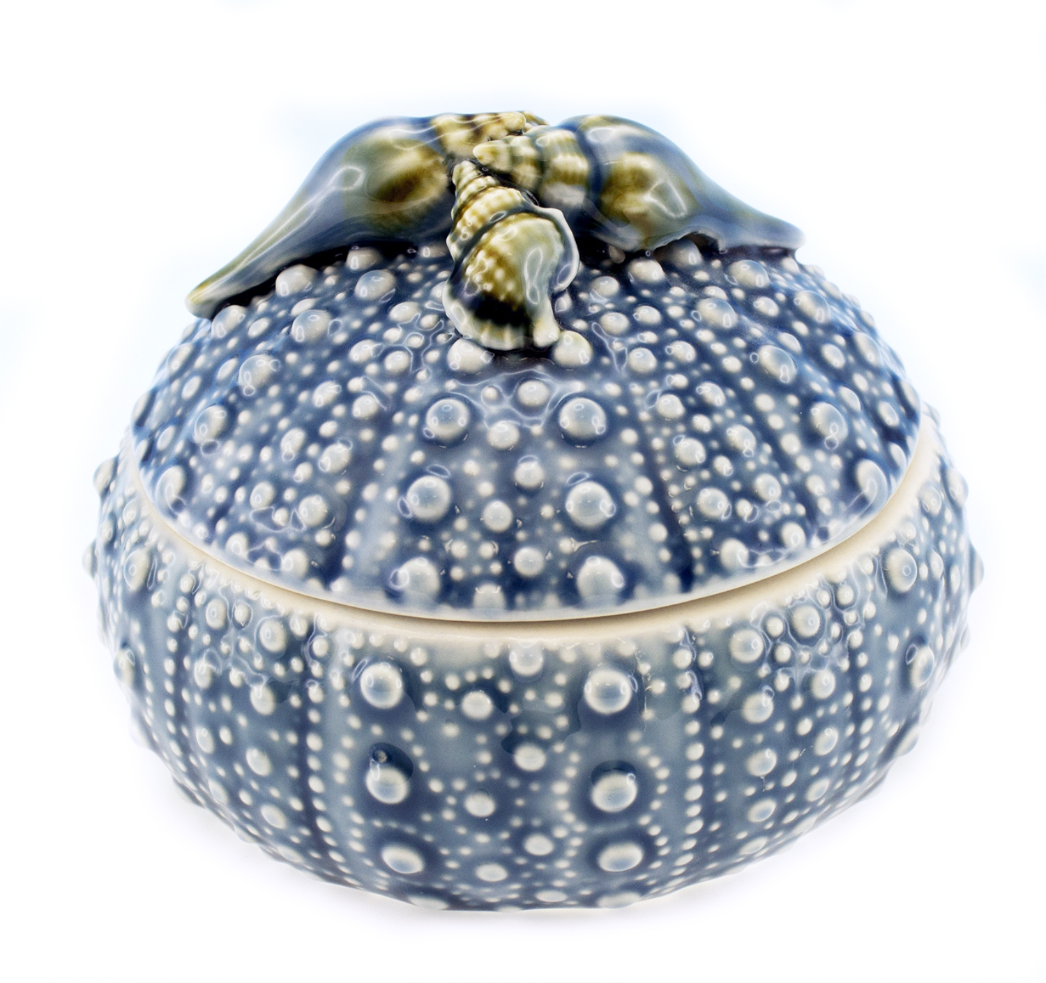 Ocean Blue and White Sea Urchin Trinket Box Topped With Shells Ceramic